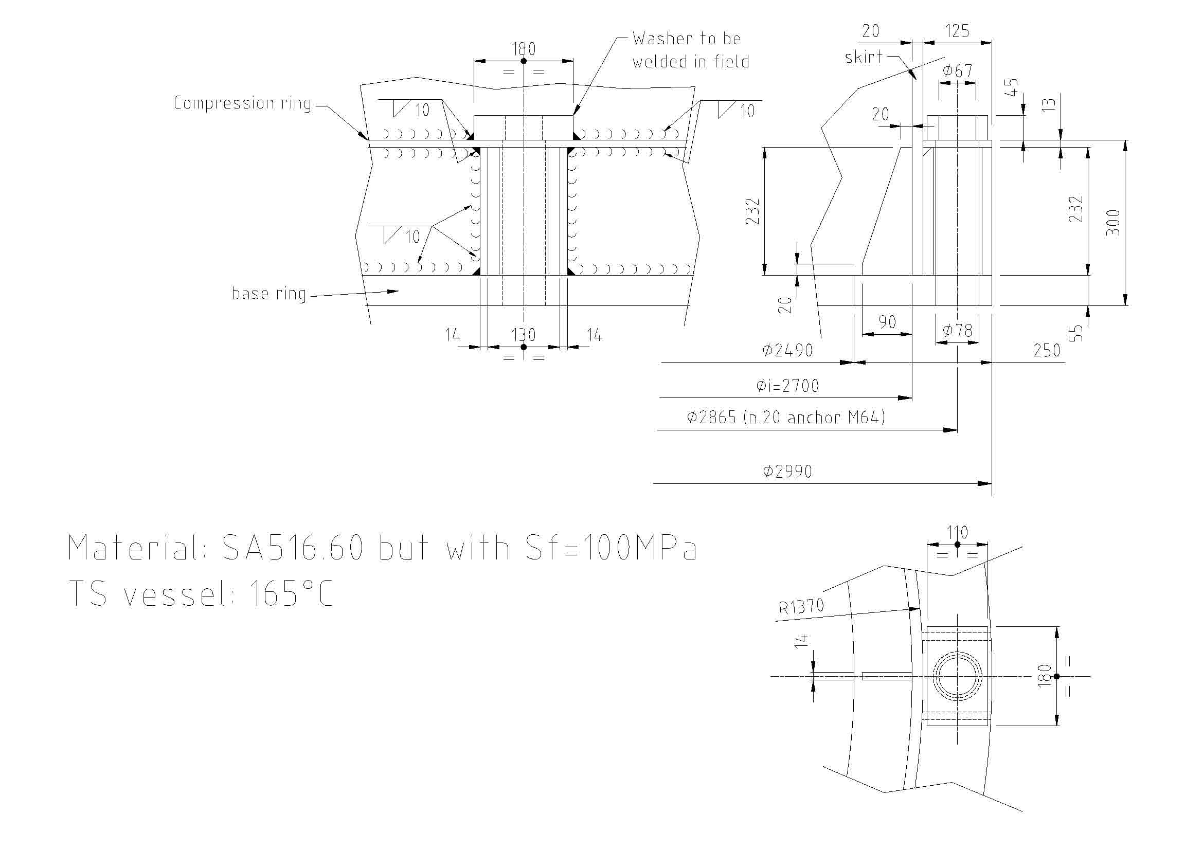 Design of skirt Base ring and Compression ring - Intergraph